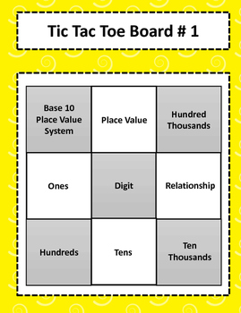 3.2B Describing Relationships in Place Value Vocabulary Tic-Tac-Toe