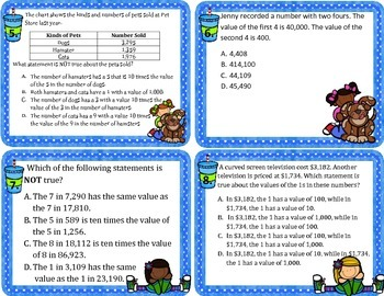 3.2B Describing Relationships in Place Value Word Problem Task Cards -STAAR
