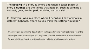 Describing Settings and Events in Stories