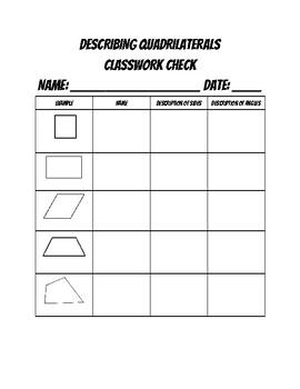 Describing Shapes Classwork Check