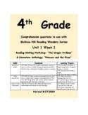 Describing a Character,setting,event Reading Wonders Series 4th grade U1W1