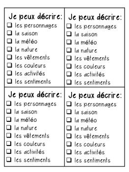 Describing a Picture Student Checklist