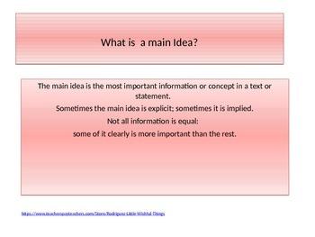 Describing a main idea
