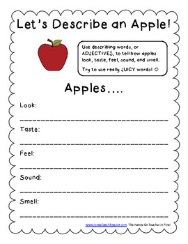 Describing an Apple! FREEBIE