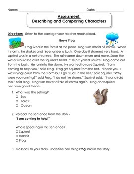 Describing and Comparing Characters Assessment