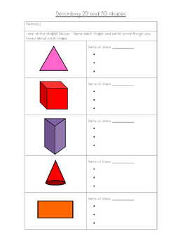 Describing and Drawing 2D and 3D shapes