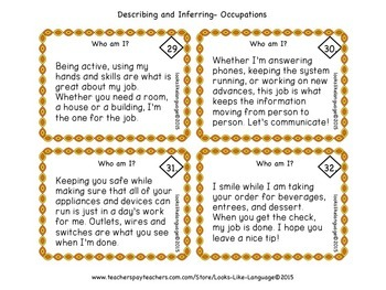 Activities for Describing and Inferring: Occupations