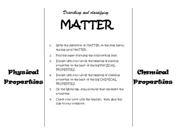 Describing and classifying MATTER