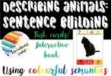 Describing animals: sentence building writing using colour
