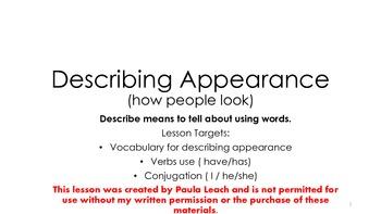 Describing appearance. ESL