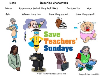 Describing characters PowerPoint, Model description and Vocabulary sheet