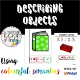 Describing objects sentence building writing using colourf