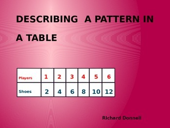 Describing patterns in a table