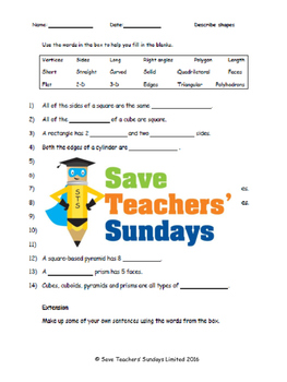 Describing shapes lesson plans, worksheets and more