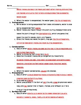 Describing the Water Cycle Worksheet