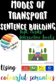 Modes of transport using colourful semantics (US and UK) writing task cards