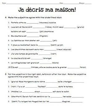 Describing you Home in French: Adjective Placement and Agreement