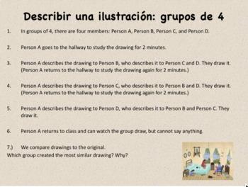 Describir una Ilustración: Communicative Spanish Telephone Game Activity