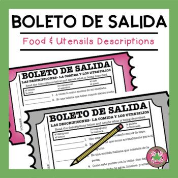 Descripciones - La comida y los utensilios Exit Slip