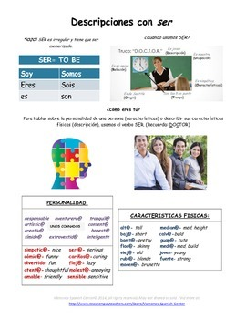 Descripciones con ser/Descriptions with SER