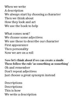 Description / Descriptive Text Song