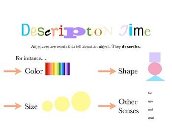 Description Time: Describing Visual Aid Freebie