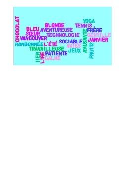 Core French Description de Toi-Même Wordle