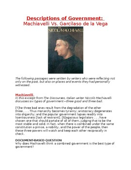 Description of Government: Machiavelli Vs. Garcilaso de la Vega Worksheet