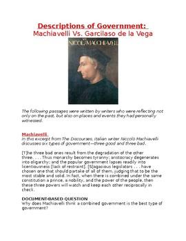 Description of Government: Machiavelli Vs. Garcilaso de la