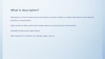 Description text structure 3rd grade