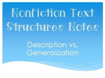 Description vs. Generalization Anchor/Handout/Notes
