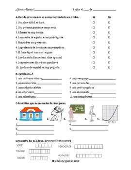 Descriptions Vocabulary Practice Worksheets (Así Se Dice Level 1, Chapter 1)