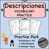 Descriptions Vocabulary Practice Worksheets (Así Se Dice Level 1, Chapter 1)