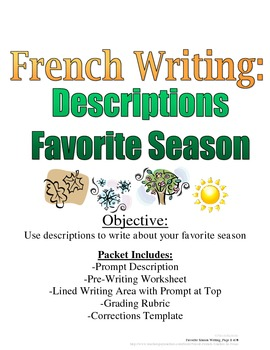 Favorite Season Writing Prompt for French Students: Rubric, Pre-Writing Included