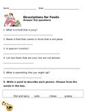 Descriptions for Foods