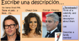 Descriptions in Spanish of famous people and finding commo
