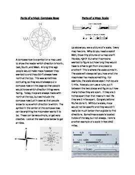 Descriptions of Parts of a Map (Key, Compass Rose, Scale)