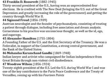 Descriptions of Top 50 Influential People in World History