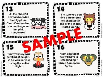 Descriptive Adjective Scoot/Task Cards (Adventurous Animals)