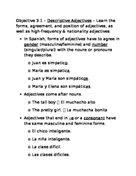 Descriptive Adjective notes