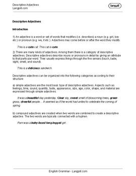 Descriptive Adjectives Worksheet