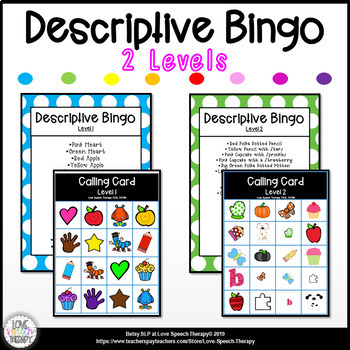 Descriptive Bingo - Levels 1 & 2