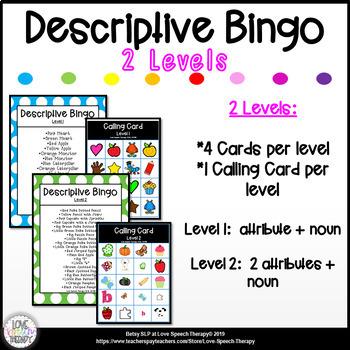 Descriptive Bingo - Levels 1 & 2