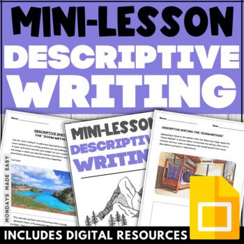 Descriptive Creative Writing Mini-Lesson | Scaffolding Practice Worksheets