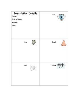 Descriptive Details Organizer