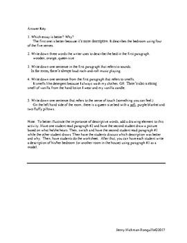 Descriptive Essay Comparison Activity