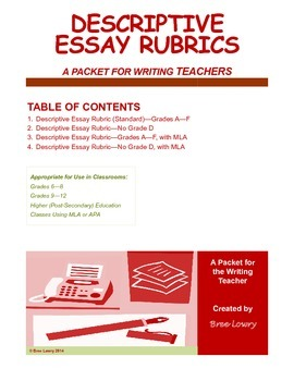 Descriptive Essay Rubrics Packet