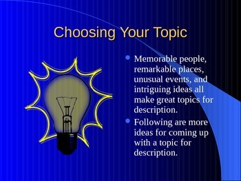 descriptive essay powerpoint presentation Descriptive writing what is a descriptive writing descriptive writing a description is a picture in words that helps the reader see, hear, taste, smell, or feel something that the writer has experienced.
