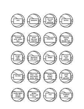 Descriptive Hoops Descriptive Writing Activity