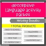 Descriptive Language Activity Packet Holiday Bundle
